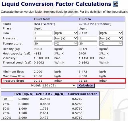 液体用マスフローメータの圧損&コンバージョンファクタ計算ができる?
