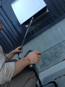 排ガスダクト施工完了後の風量測定