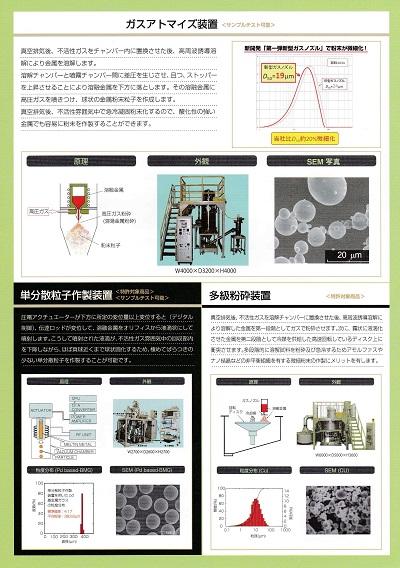 特許対象実験装置 単分散粒子作成、多級粉砕、ガスアトマイズ、液体急冷、Ti基金属ガラス、コンバージミル、差圧鋳造 etc