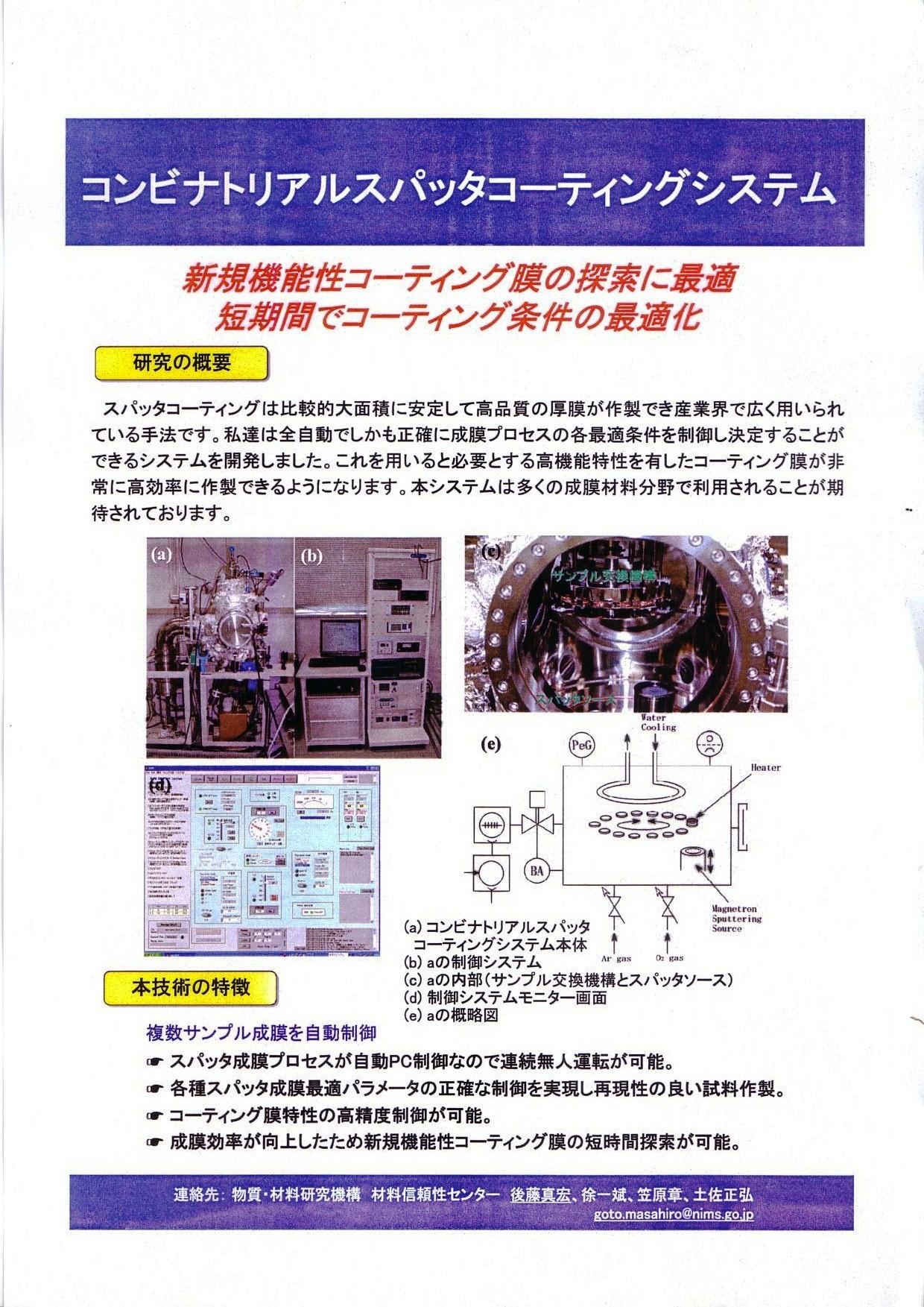 コンビナトリアルスパッタコーティングシステム